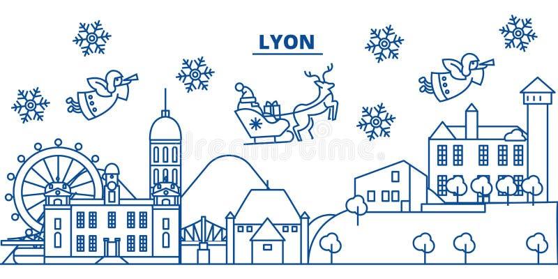 France, Lyon winter city skyline. Merry Christmas, Happy New Year stock illustration