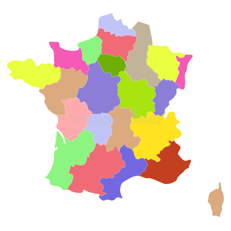 France map. Map of France with regions and counties. Vector illustration royalty free illustration