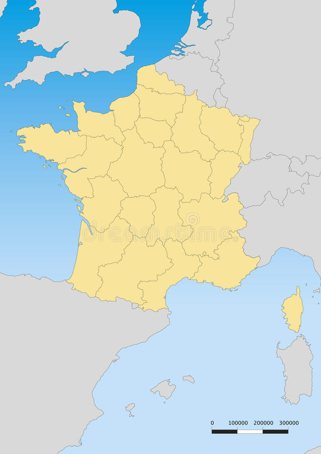 France map. Vector map of France with regions. Escale 1:60000000 Lambert projection vector illustration
