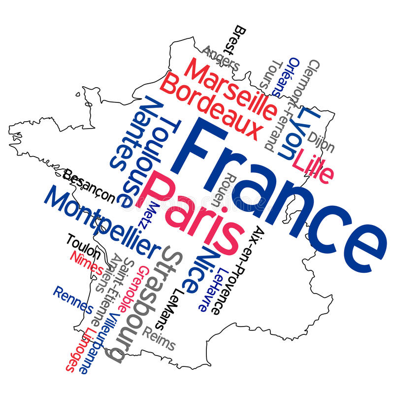 France map and cities. France map and words cloud with larger cities