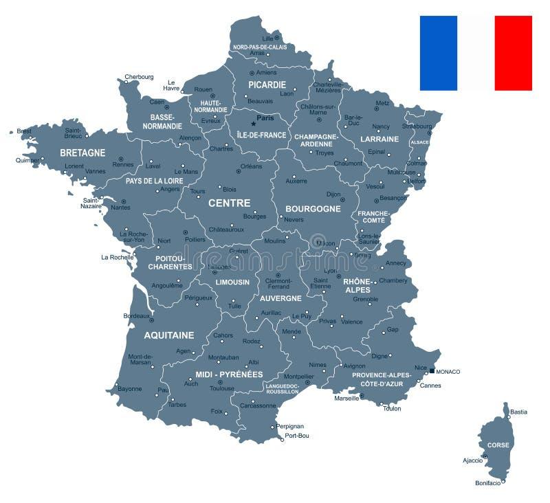 France Map And Flag Illustration Stock Illustration Illustration