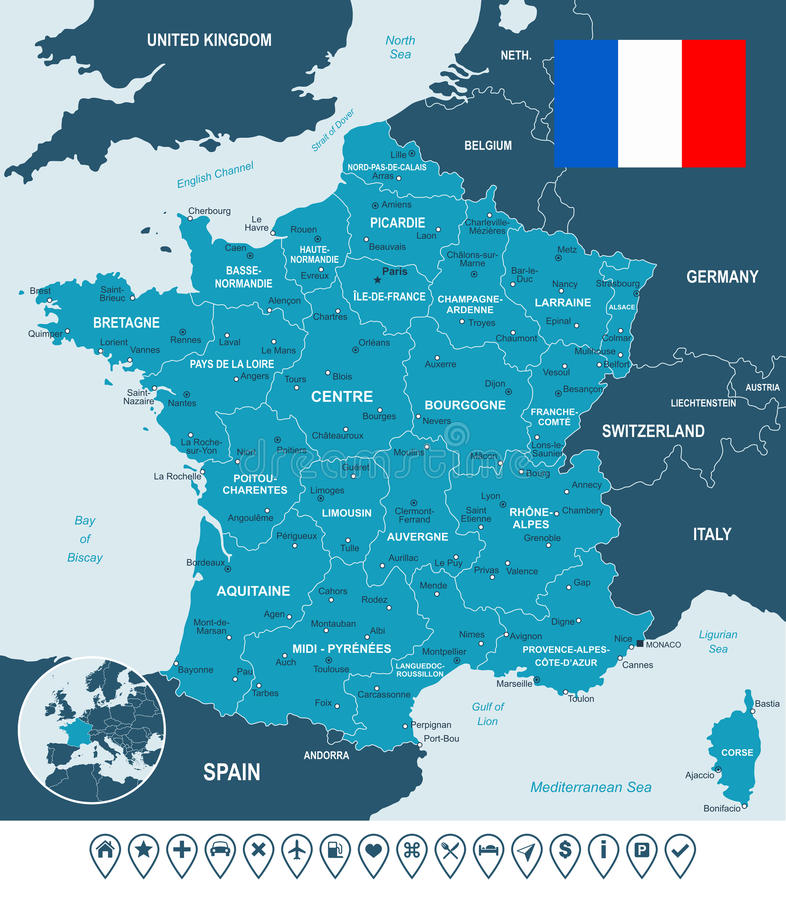 France map, flag and navigation labels - illustration. Map of France and flag - highly detailed vector illustration. Image contains land contours, country and vector illustration