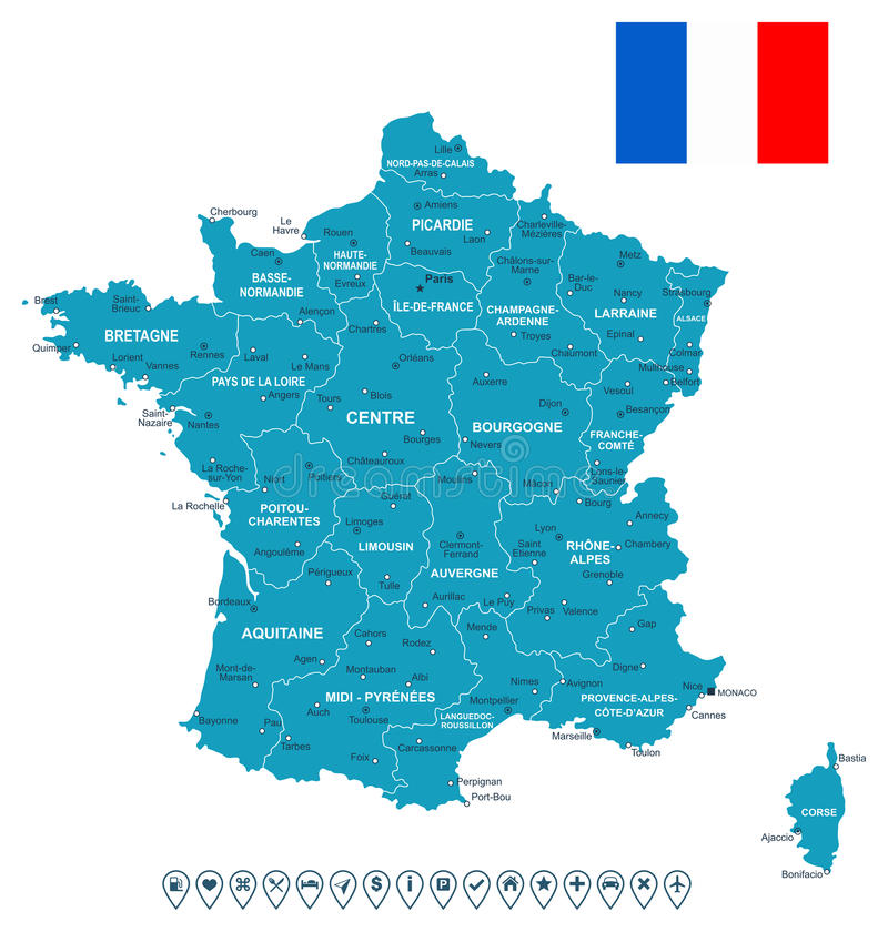 France map, flag and navigation labels - illustration. Map of France and flag - highly detailed vector illustration. Image contains land contours, country and royalty free illustration