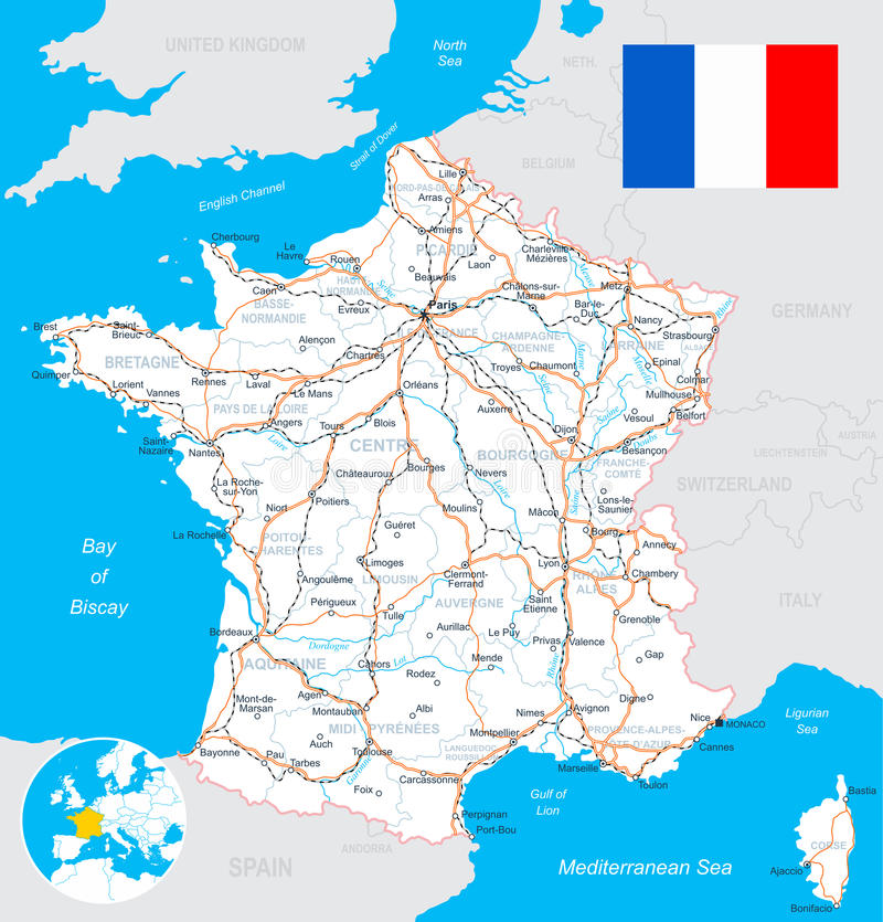 France map, flag, roads - illustration. Map of France and flag - highly detailed vector illustration. Image contains land contours, country and land names, city royalty free illustration
