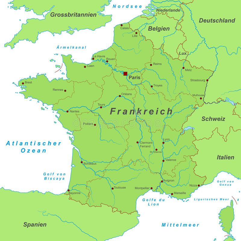 France - Map of France - High Detailed. Vector Map vector illustration