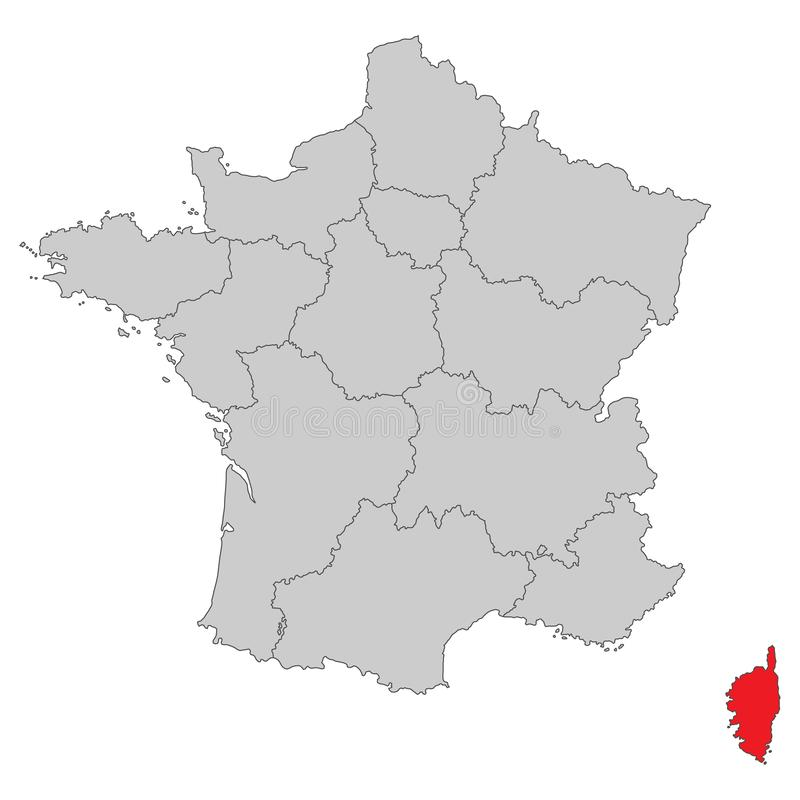 France - Map of France - High Detailed. Vector Map royalty free illustration