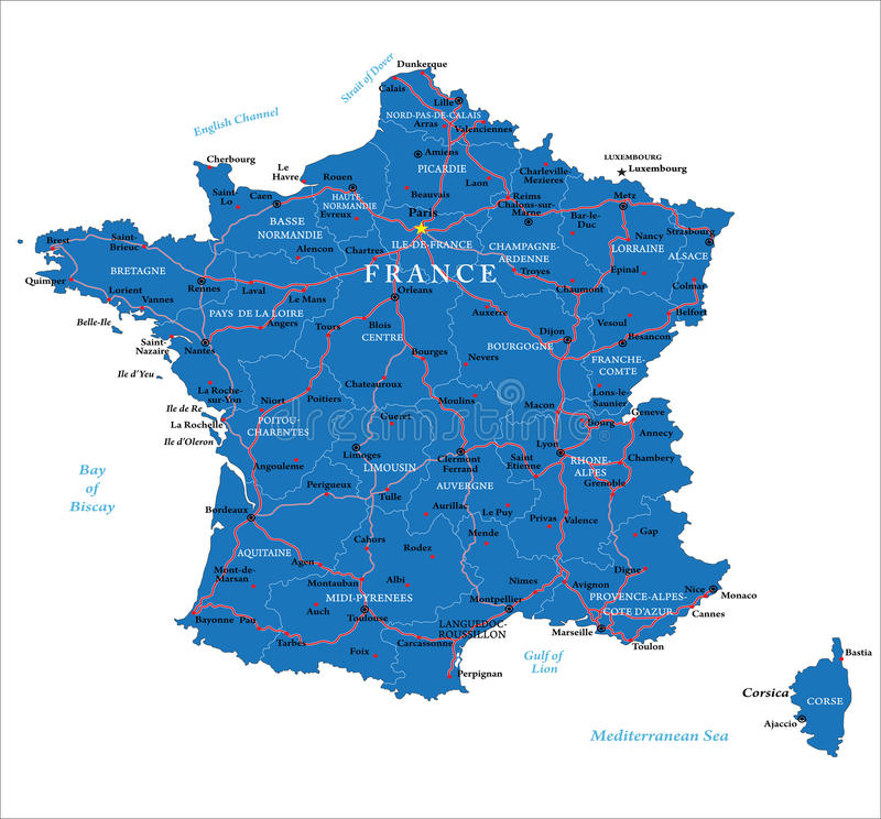 France map. Highly detailed vector map of France with main regions,cities,roads and neighbour countries royalty free illustration