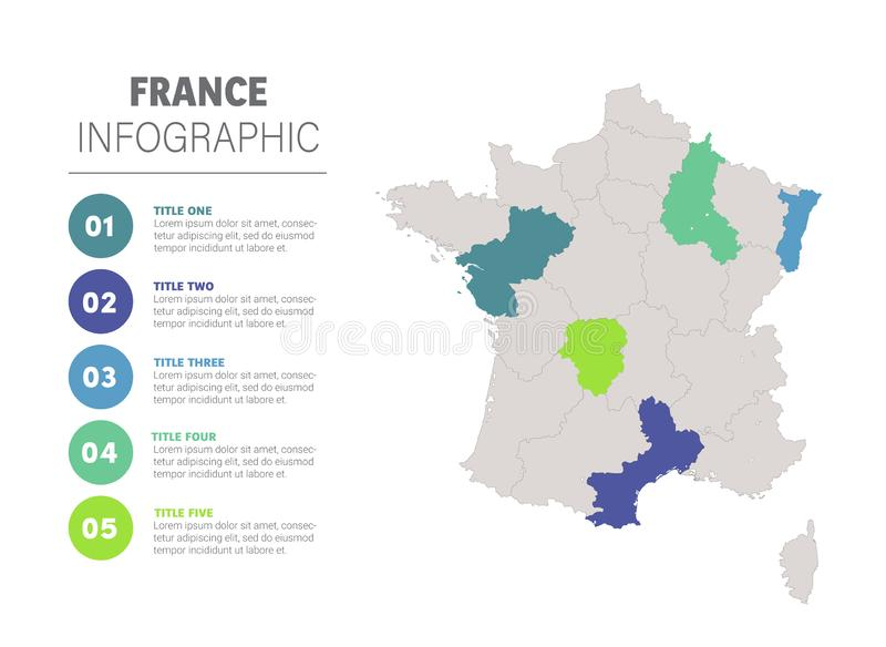 France map infographic. France business marketing concept. Europe map infographics data. Economic statistic template. Design information, business graph and stock illustration