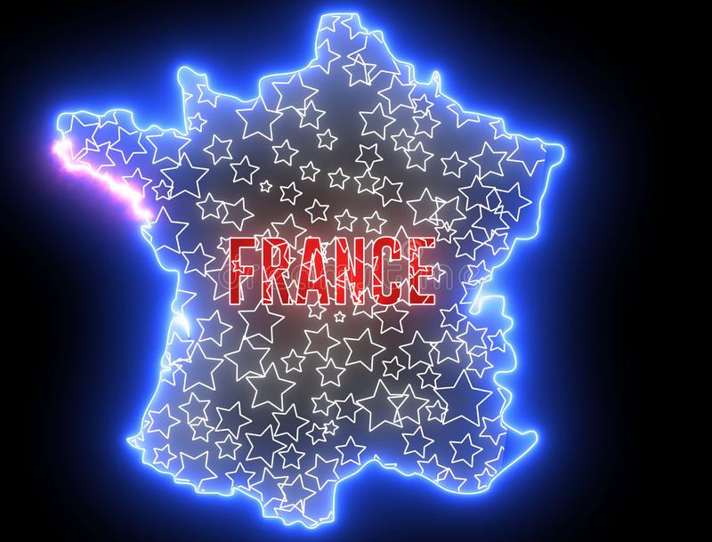 France map with neon light. Creative outline of French country with flag royalty free illustration