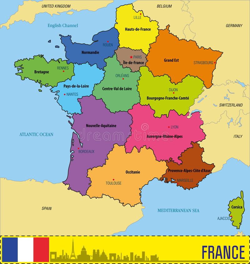 France Map With Regions And Their Capitals Stock Vector
