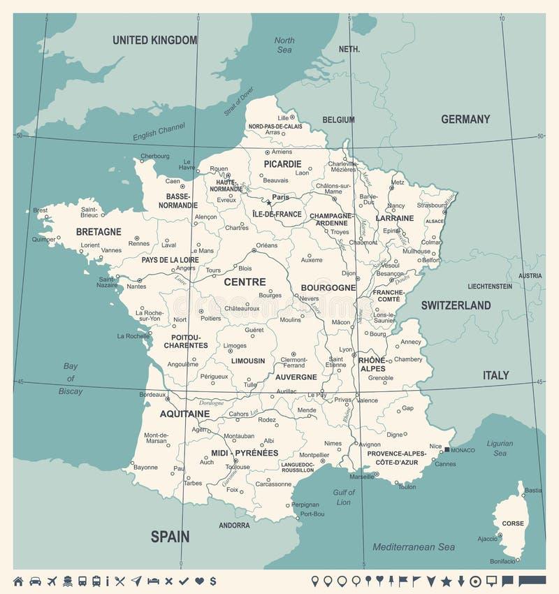 France Map Vintage Vector Illustration Stock Illustration