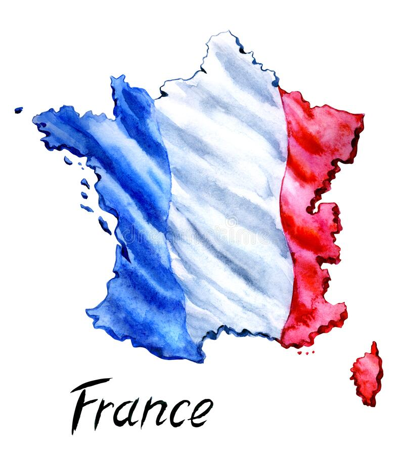 Free France Map With The Flag On The Background And The Inscription `France` Stock Photo - 192207270