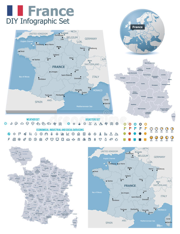 Download France maps with markers stock vector. Image of layout - 32746126