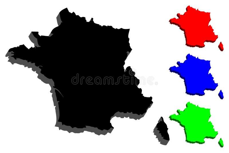 France mapy 3 d ilustracja wektor