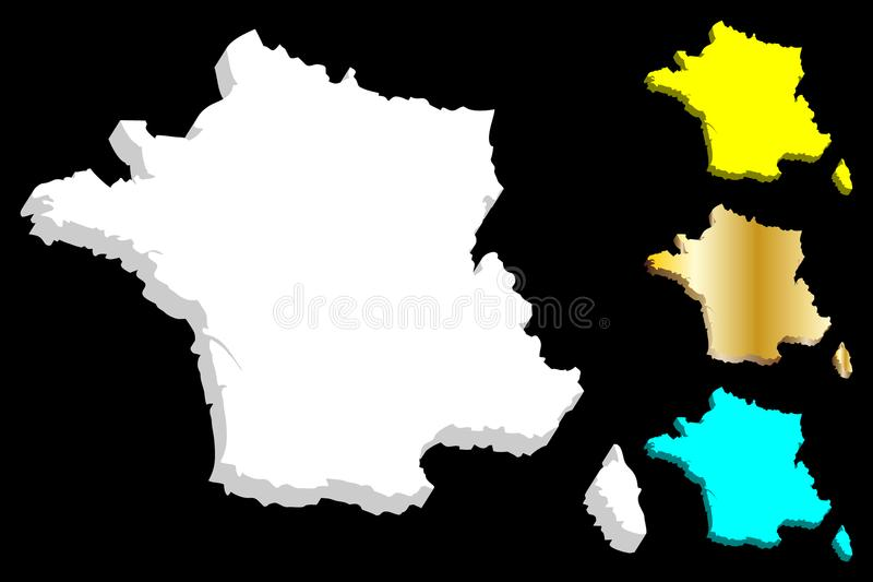France mapy 3 d ilustracji