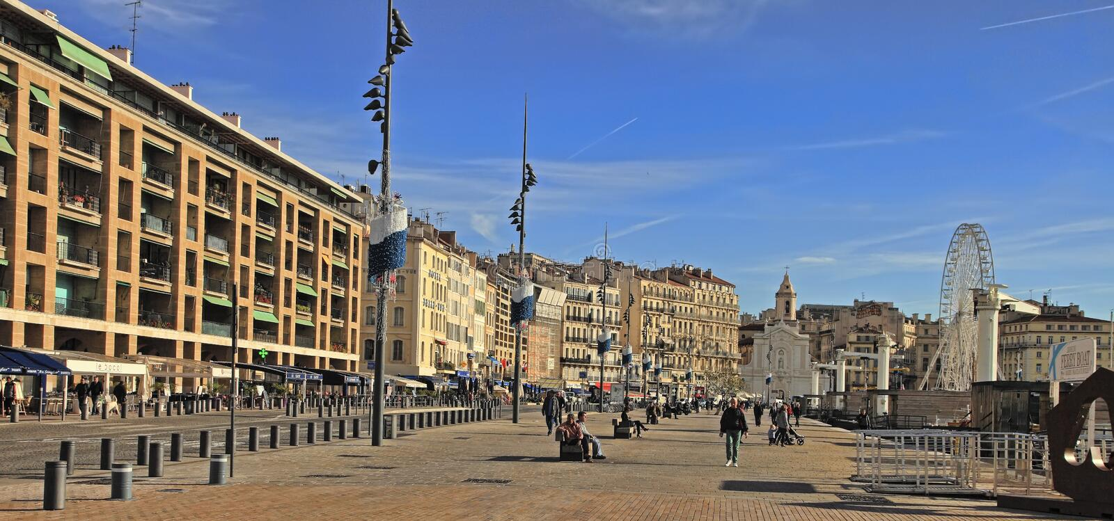 FRANCE, MARSEILLE -November 19, 2018: Old port Vieux-Port. Marseille is France`s largest city on the Mediterranean coast and. Largest commercial port. MARSEILLE royalty free stock photo