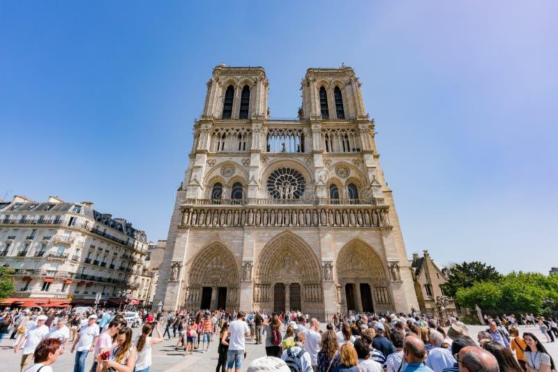 Exterior view of the famous Notre-Dame de Paris. France, MAY 7: Exterior view of the famous Notre-Dame de Paris on MAY 7, 2018 at Paris, France royalty free stock photo