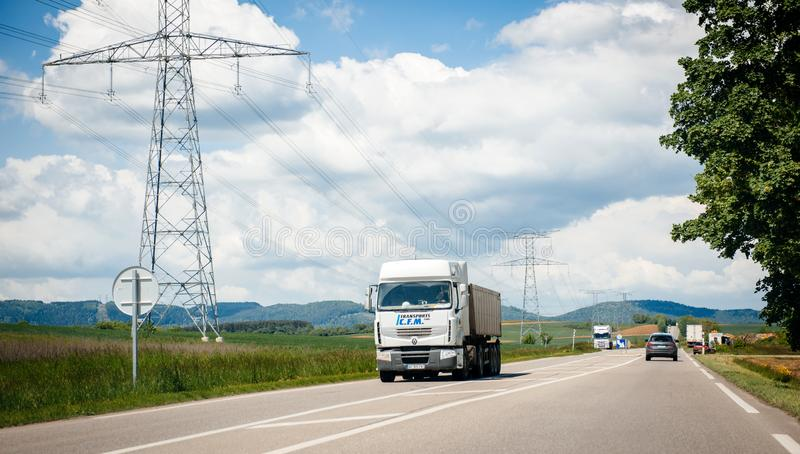Fast driving French Renault truck on the highway royalty free stock images