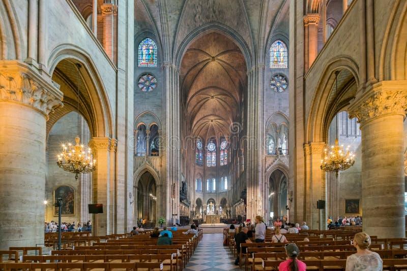 Interior view of the famous Notre-Dame de Paris. France, MAY 7: Interior view of the famous Notre-Dame de Paris on MAY 7, 2018 at Paris, France royalty free stock photos