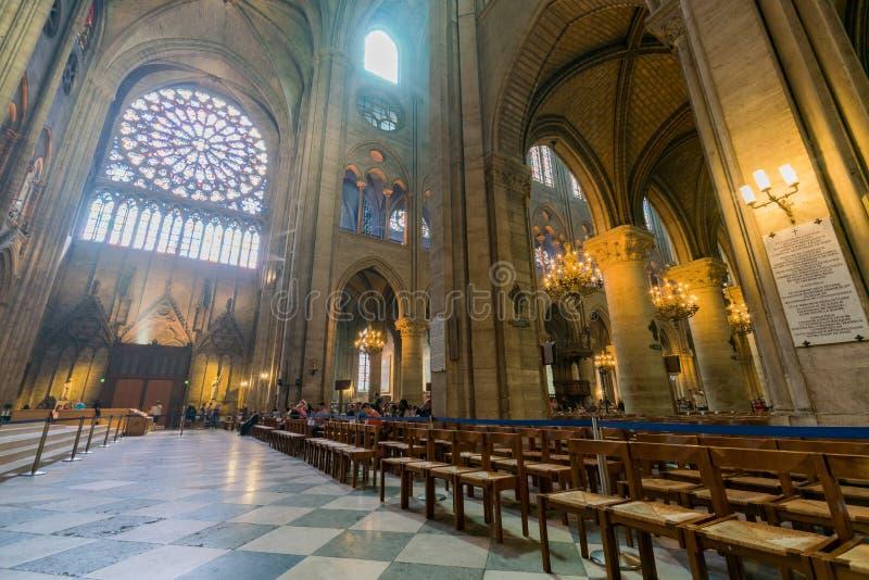 Interior view of the famous Notre-Dame de Paris. France, MAY 7: Interior view of the famous Notre-Dame de Paris on MAY 7, 2018 at Paris, France stock images