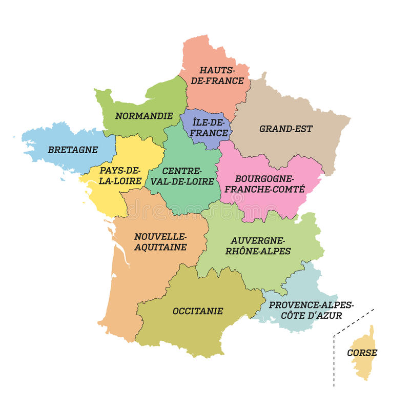 France metropolitan map with new regions. Vector illustration of France metropolitan map with new regions and new names (july 2016 stock illustration