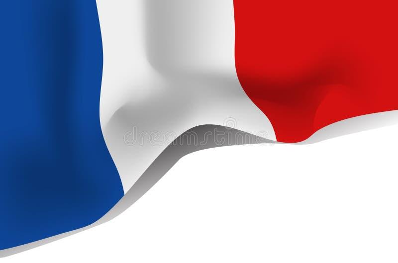 France national waving flag. Isolated on white background royalty free illustration