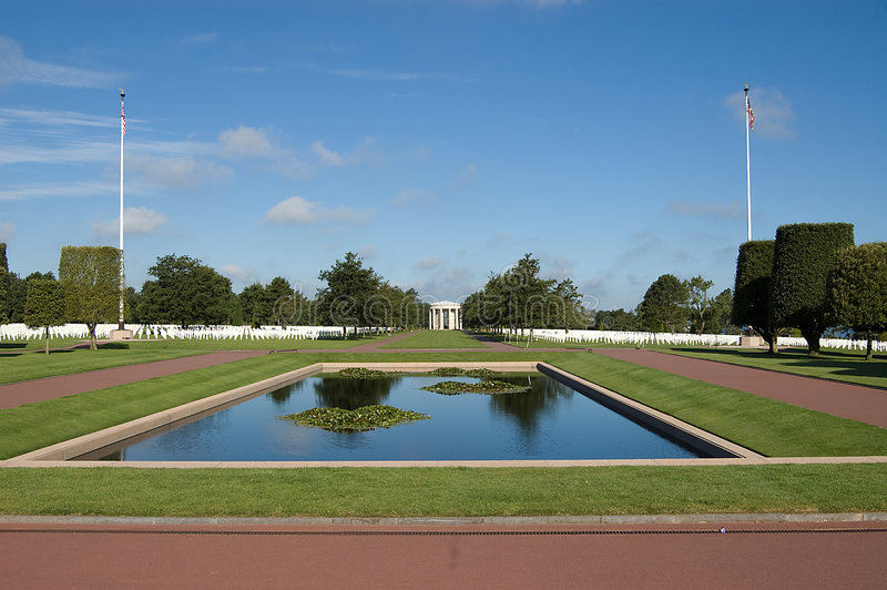 France, Normandy war cemetery. American war cemetery in Normandy, France royalty free stock image