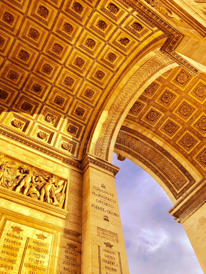 He Arc de Triomphe - a monument in the 8th arrondissement of Paris in the Place Charles de Gaulle, royalty free stock photos