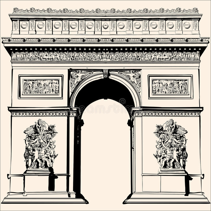 France - Paris - Arc de triomphe. Very detailed vector representation of an Hand drawing stock illustration