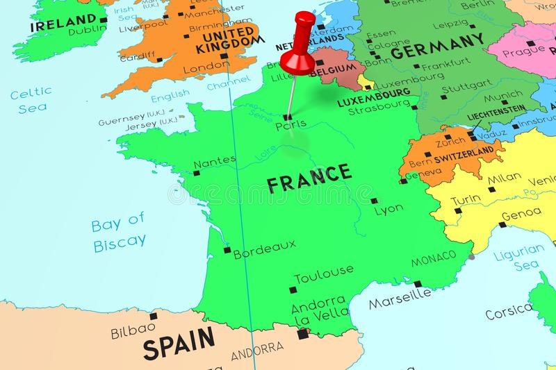 France, Paris - Capital City, Pinned On Political Map Stock ...