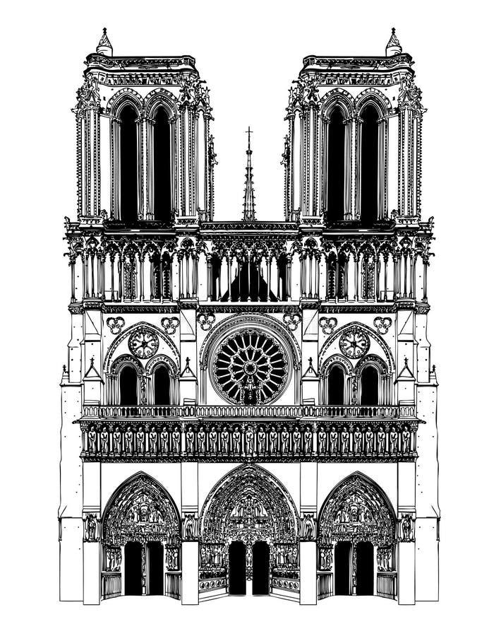 France; Paris; Desenho de Notre Dame ilustração do vetor