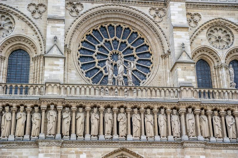 The main facade of Notre Dame de Paris. France Paris. Detail of the main facade of Notre Dame de Paris with gorgeous stained glass tracery stock images