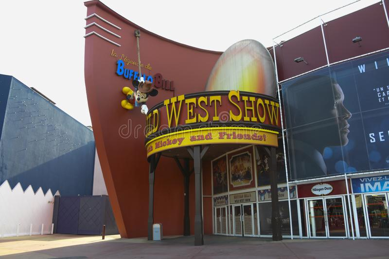 Entrance of the cinema in the Village area in Disneyland, Paris royalty free stock photos