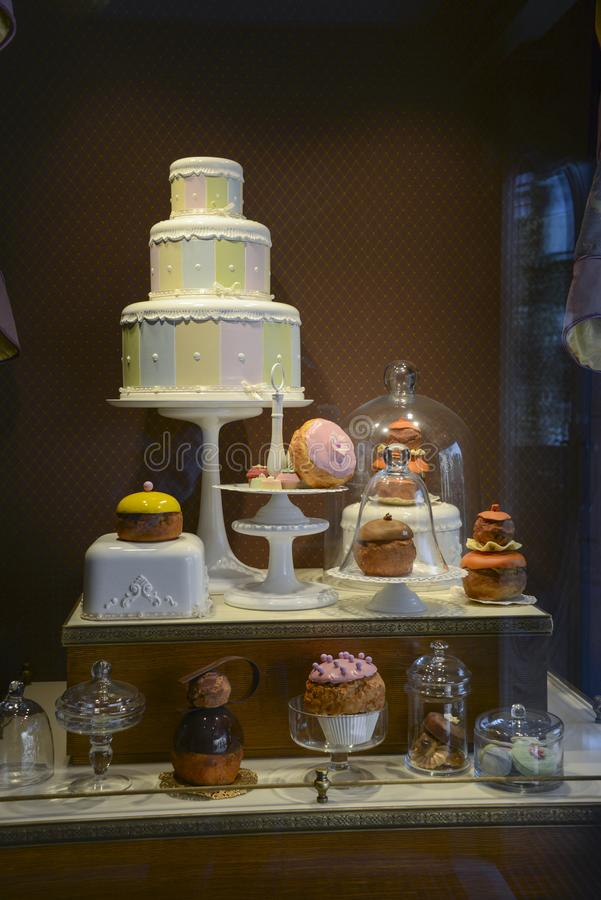 Showcase of a pastry shop stock photography