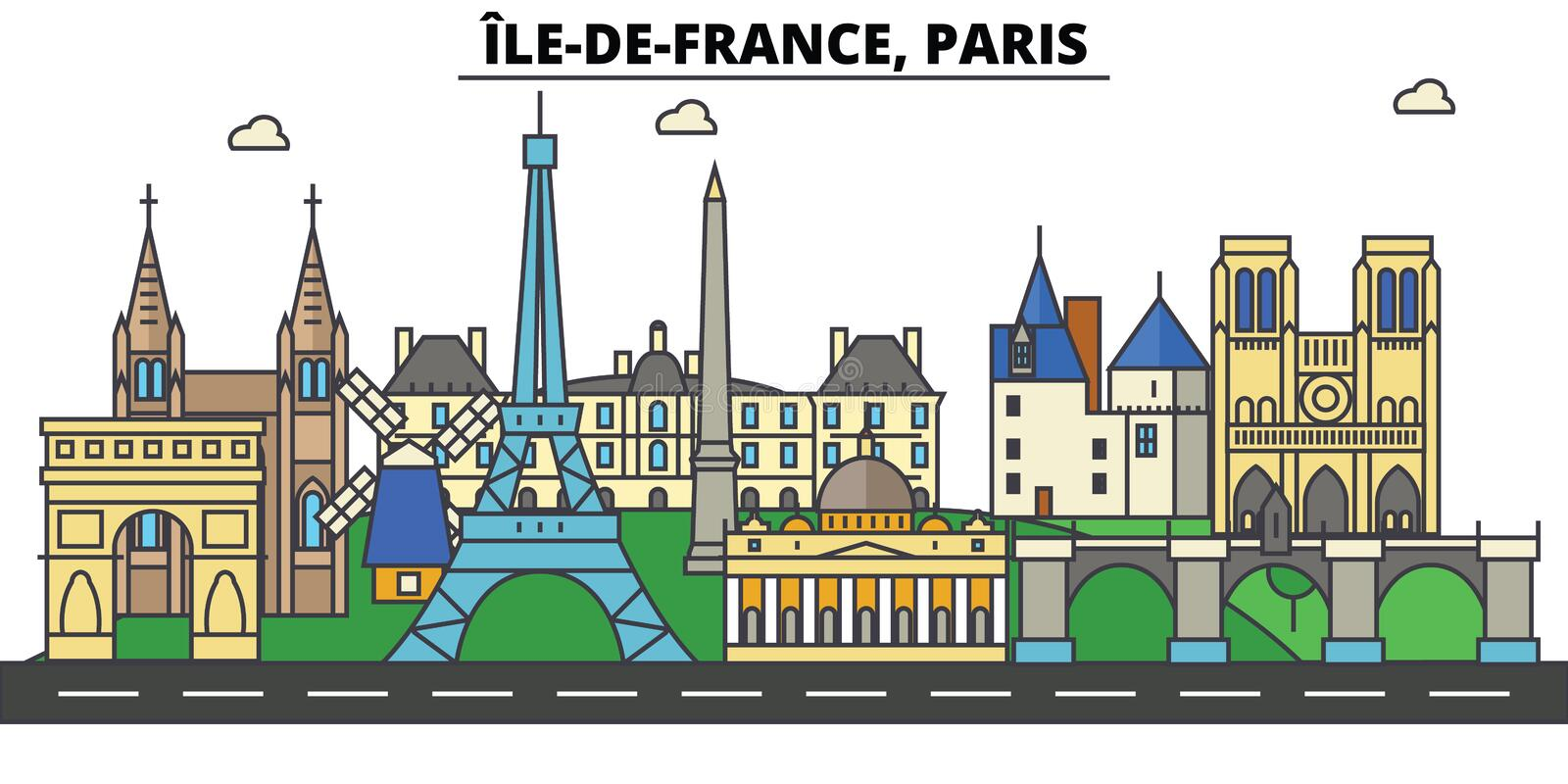 France, Paris, Ile De France . City skyline architecture royalty free illustration