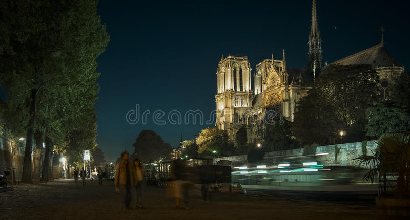 Tourists visiting the Cathedrale Notre Dame de Paris is a most famous cathedral 1163 - 1345 on the eastern half of the Cite Isla royalty free stock photography
