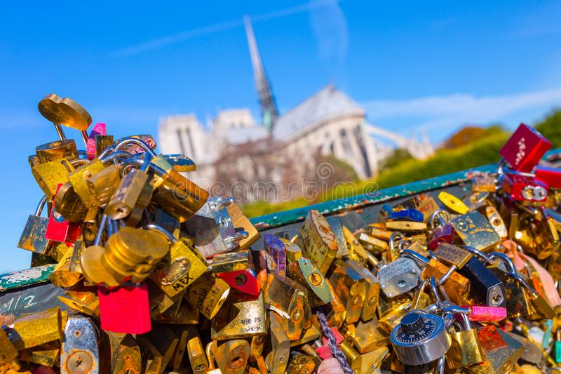 France. Paris. View on Notre Dame Cathedral from the bridge Pont stock photo