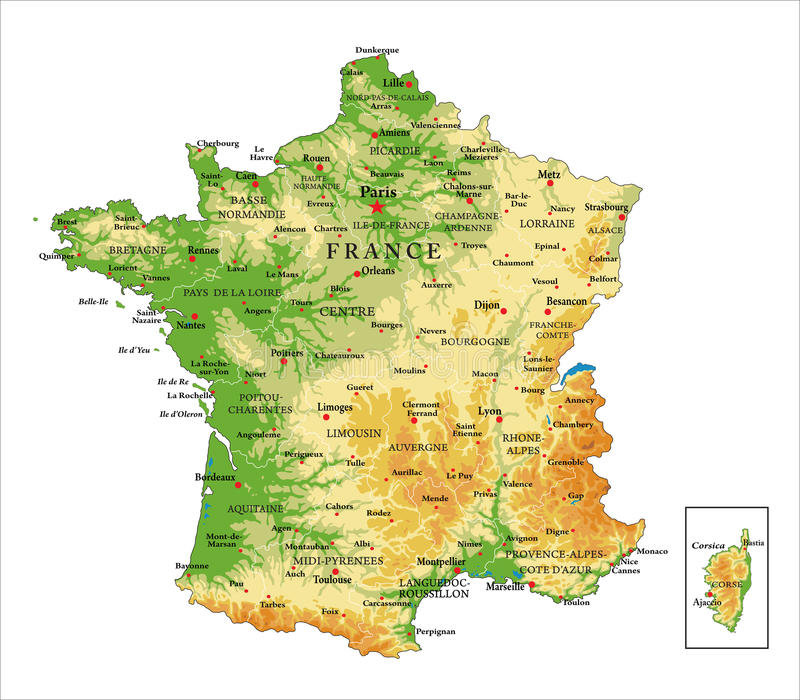 France physical map. Highly detailed physical map of France, in vector format, with all the relief forms, regions and big cities royalty free illustration