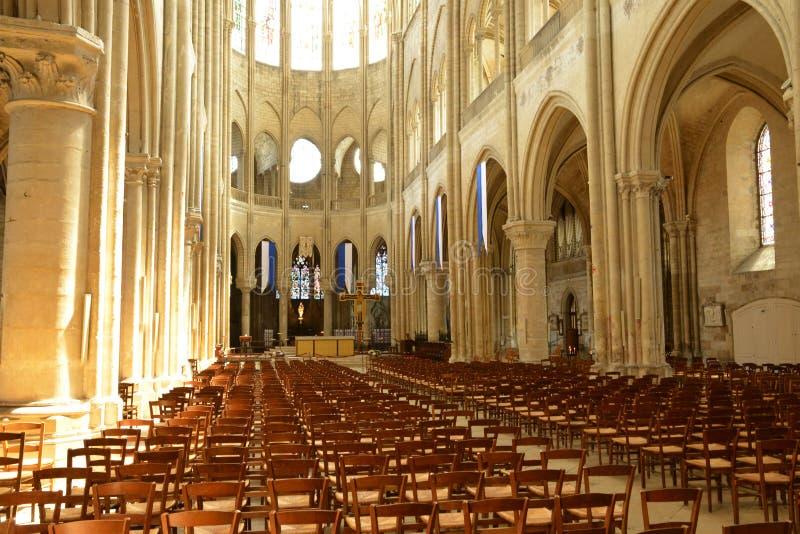 France, the picturesque city of Mantes la Jolie. Ile de France, the picturesque collegiate church of Mantes la Jolie royalty free stock photography