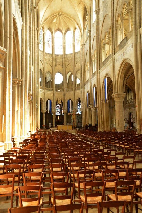 France, the picturesque city of Mantes la Jolie. Ile de France, the picturesque collegiate church of Mantes la Jolie royalty free stock images