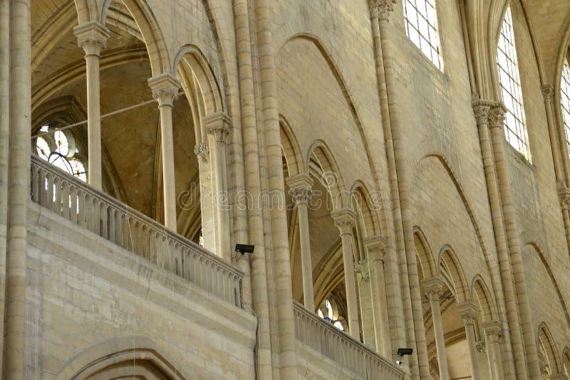 France, the picturesque city of Mantes la Jolie. Ile de France, the picturesque collegiate church of Mantes la Jolie stock images