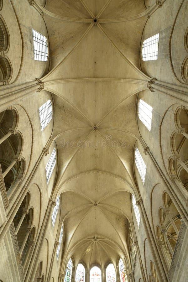 France, the picturesque city of Mantes la Jolie. Ile de France, the picturesque collegiate church of Mantes la Jolie royalty free stock photos