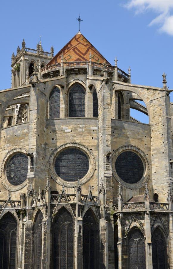 France, the picturesque city of Mantes la Jolie. Ile de France, the picturesque collegiate church of Mantes la Jolie royalty free stock image