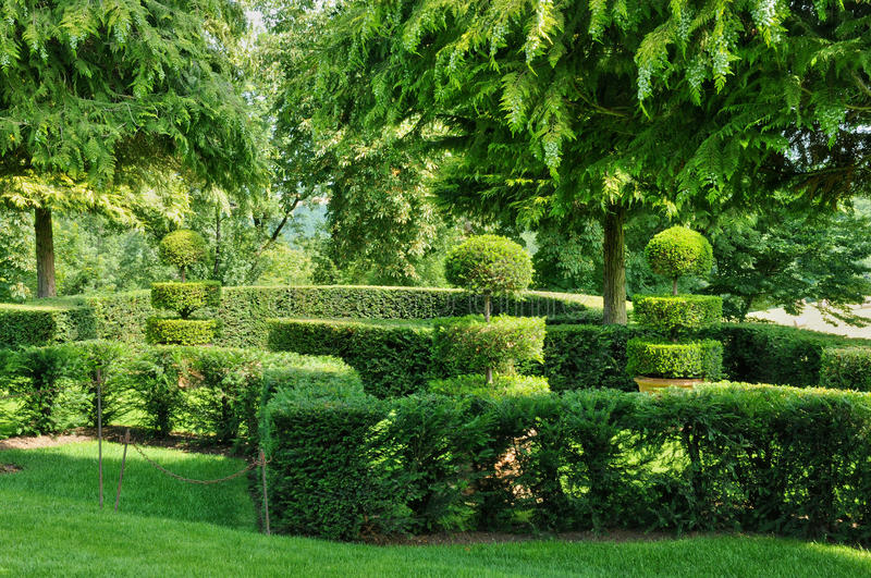 France, picturesque Jardins du Manoir d Eyrignac in Dordogne royalty free stock photography