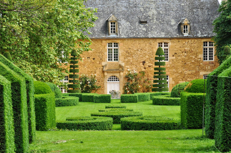 France, picturesque Jardins du Manoir d Eyrignac in Dordogne stock images