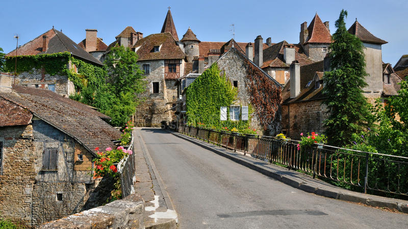 France, picturesque village of Carennac in Lot stock photo
