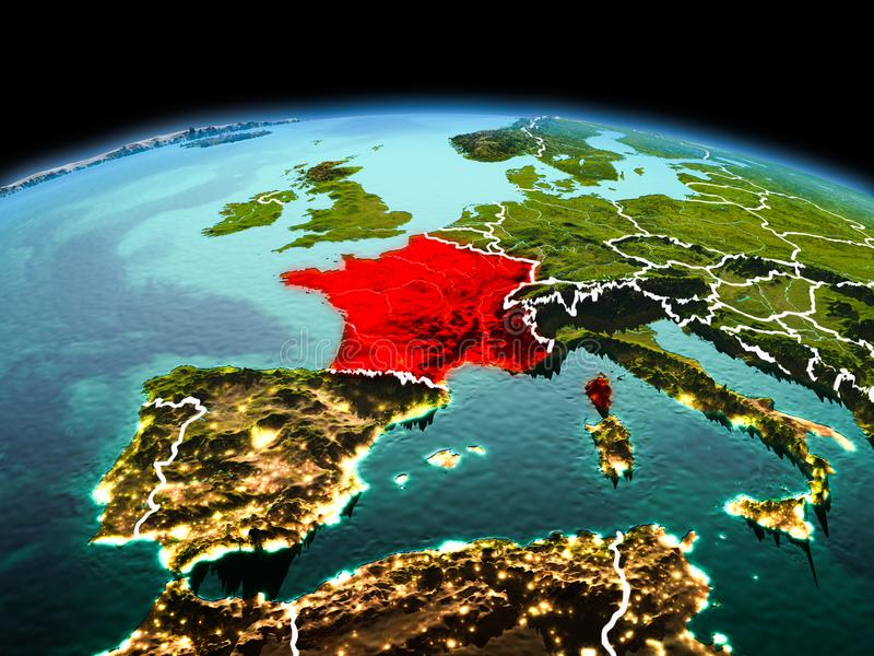 France on planet Earth in space. Morning above France highlighted in red on model of planet Earth in space with visible border lines and city lights. 3D royalty free stock photography