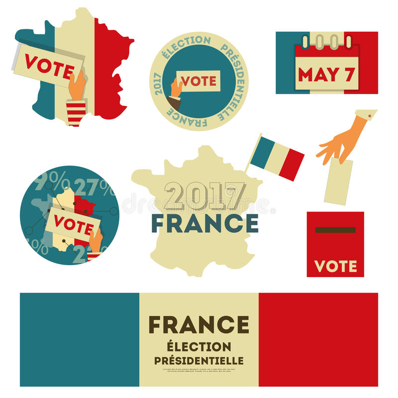 France presidential election. Voting. Emblems and Stickers Isolated on White Background. Vector Illustration royalty free illustration