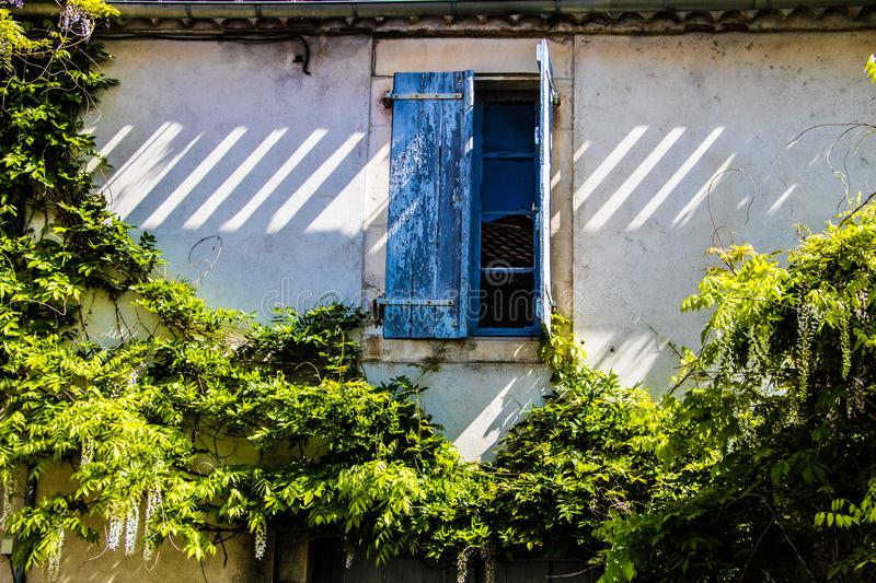 France, Provence. Typical old house, open window with the blue shutters surrounded a green plants stock photos