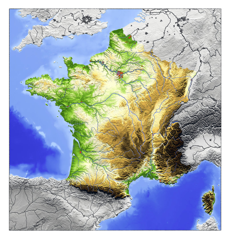 France Relief Map Stock Illustration Image Of Earth - Earth terrain map